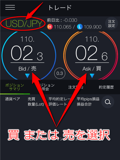 通貨をUSD/JPY、買か売どちらかをタップ