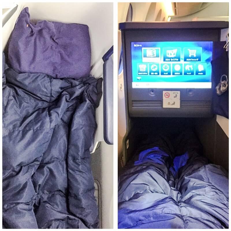 (左)枕と布団 (右)完全に足を延ばすことができる