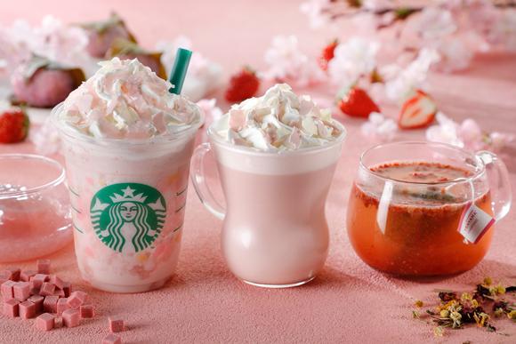 さくら ストロベリー ピンク もち フラペチーノ® 、さくら ストロベリー ピンク ミルク ラテ、さくら ストロベリー ピンク ティー