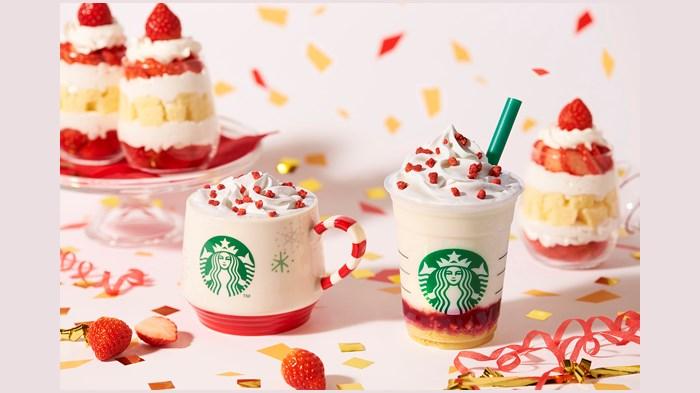 スタバ新作 メリーストロベリー ケーキ ミルク/フラペチーノ