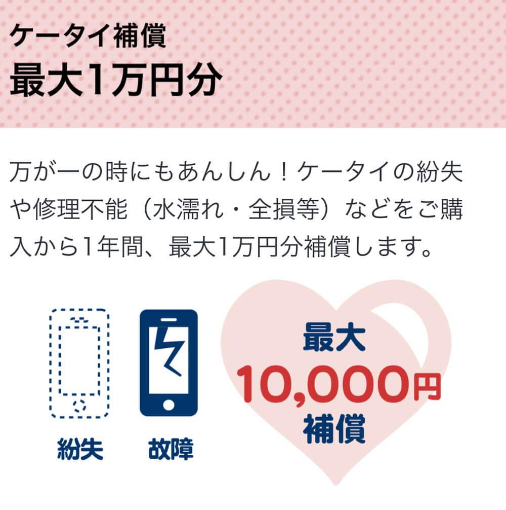 1年間1万円のケータイ補償