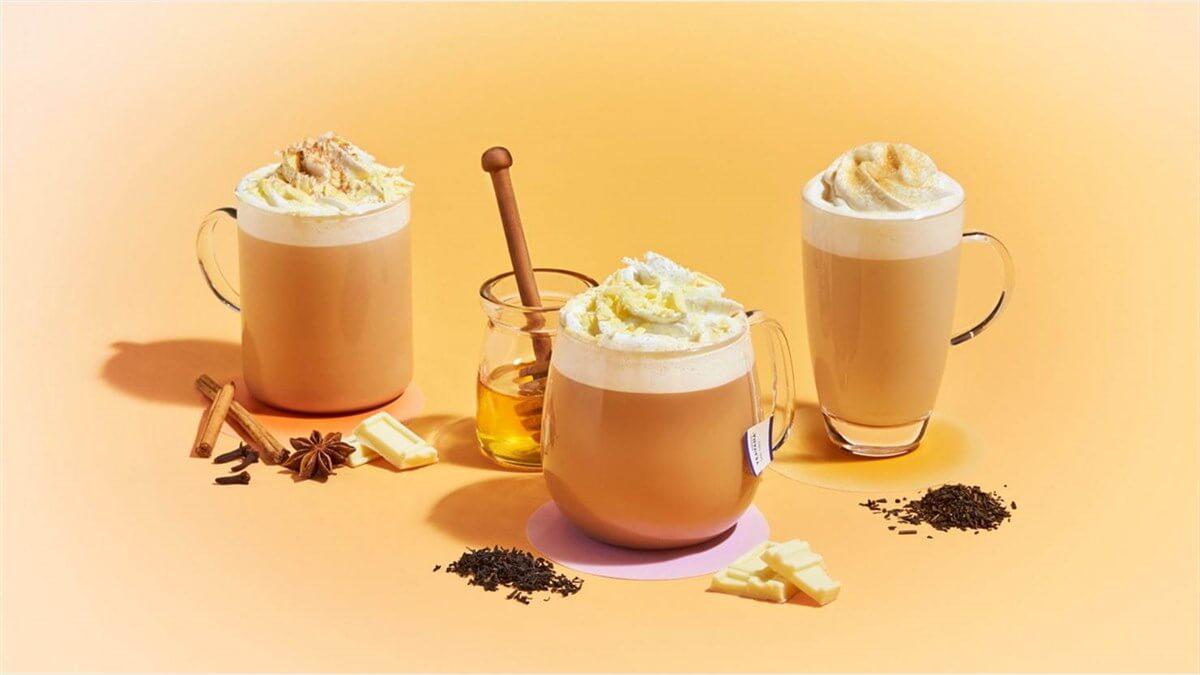 アールグレイハニーホイップティー ラテ-チャイ&ホワイトチョコレートティーラテ-ほうじ茶クリームティーラテ