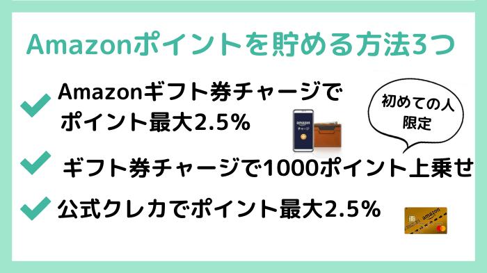 Amazonポイントを貯める方法3つ
