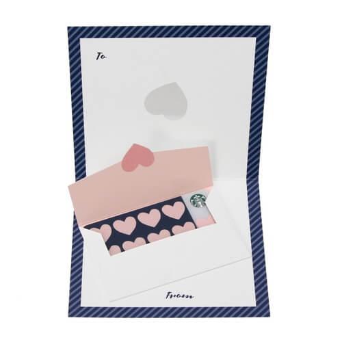 ラブレターデザインの台紙とネイビーの封筒付き
