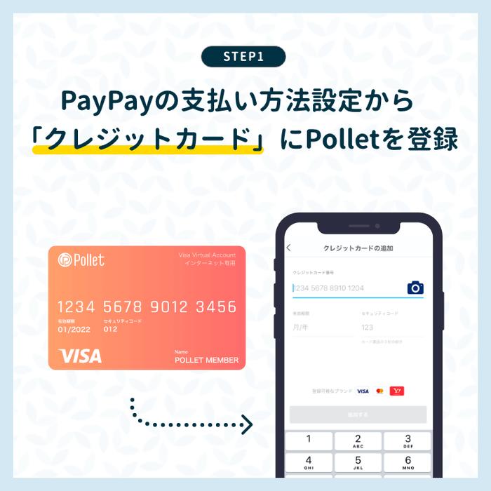 PayPayの支払い方法設定から「クレジットカード」にPolletを登録